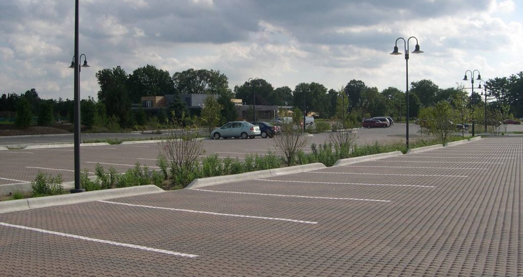 Bio-Swale In Parking Lot With Permeable Paver Parking Lot